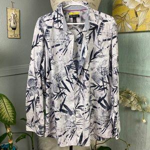 INC floral black&white cotton men shirt XXL
